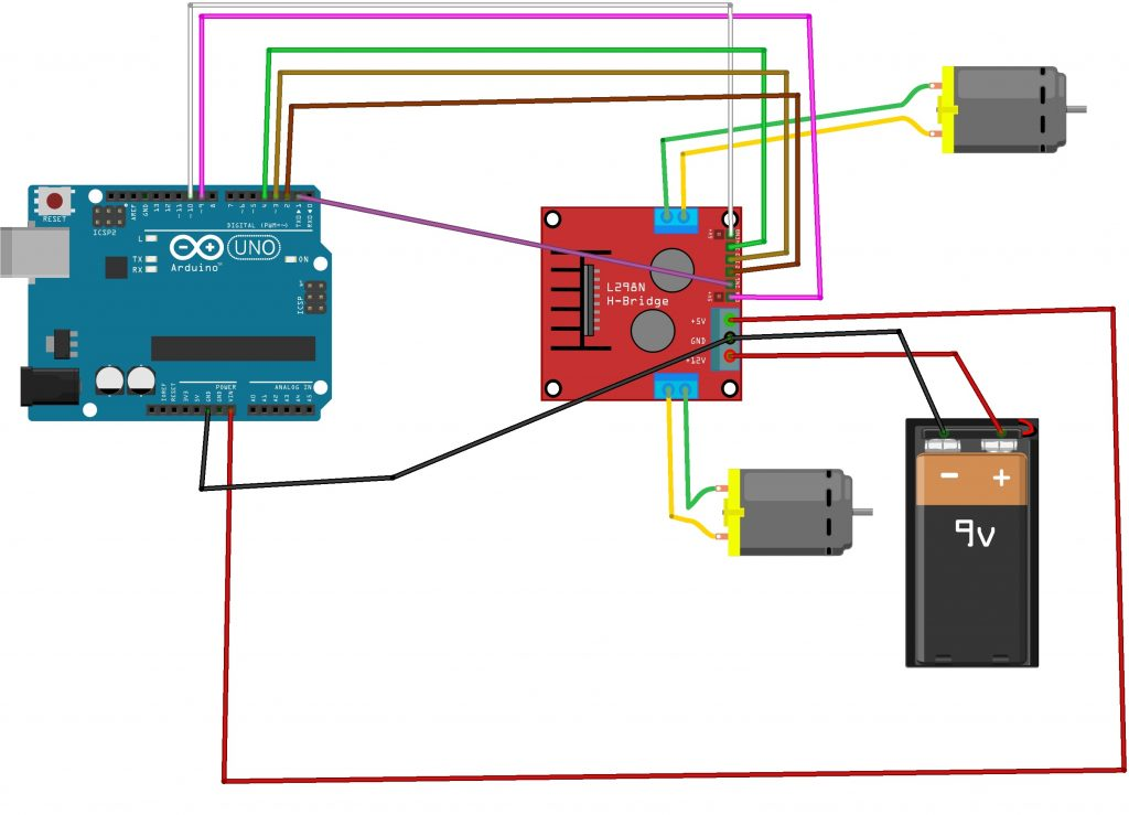 l298n motor driver connection with arduino