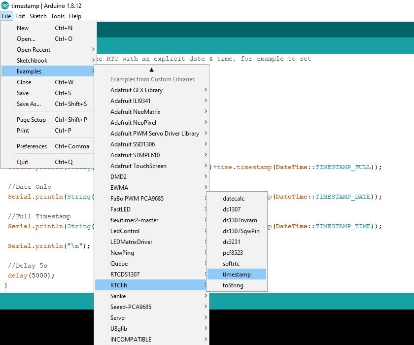RTC DS3231 example code