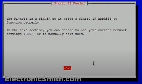 pi hole static IP