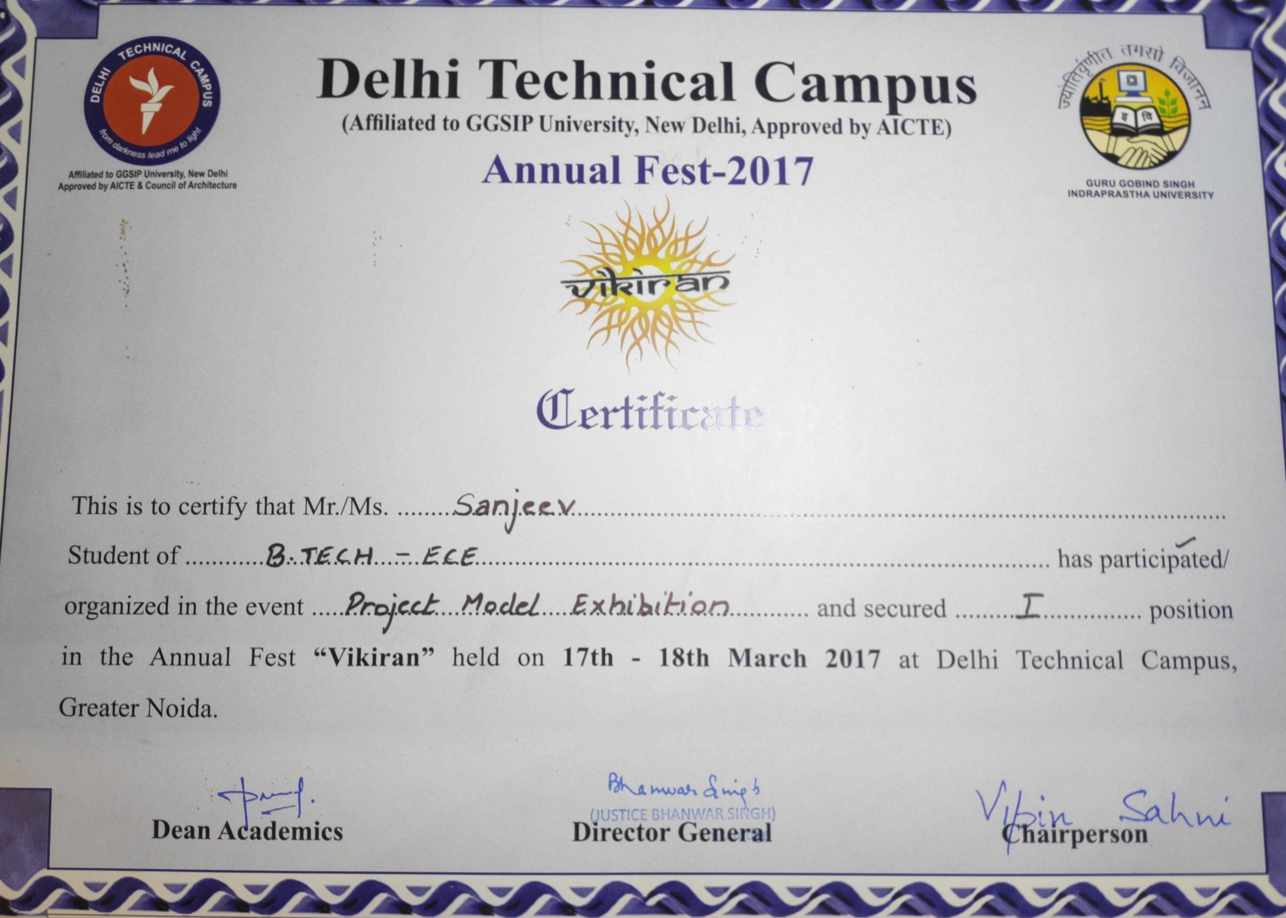 sanjeev certificate
